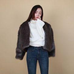 Vintage Vender - V-Neck Faux-Fur Jacket