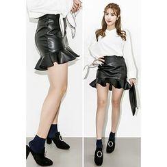 INSTYLEFIT - Frill-Hem Faux-Leather Mini Skirt