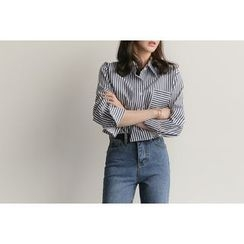 UPTOWNHOLIC - Pocket-Detail Striped Shirt