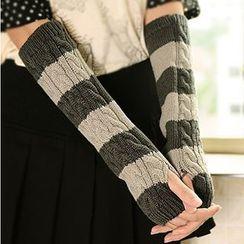 Montebello - Striped Knitted Long Fingerless Gloves