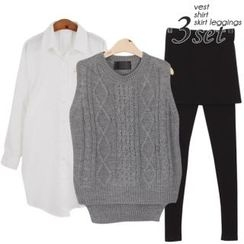 Ho Shop - Set: Sleeveless Knit Top + Drop-Shoulder Shirt + Inset Skirt Leggings