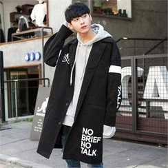 TOMONARI - Lettering Buttoned Cotton Long Coat