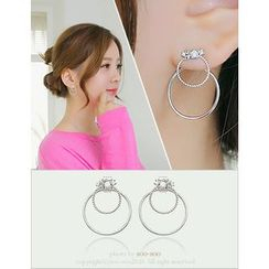 soo n soo - Rhinestone Layered Earrings