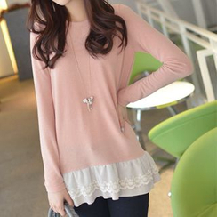 CLICK - Lace Hem Long-Sleeved Top