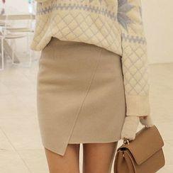 Seoul Fashion - Asymmetric-Hem Wool Blend Mini Skirt