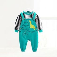 ciciibear - Kids Set: Stripe Sweatshirt + Print Dungaree