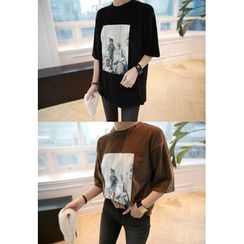 Miamasvin - Elbow-Sleeve Printed T-Shirt