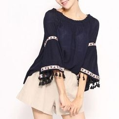 Champi - Tasseled Patterned Applique Off Shoulder 3/4 Sleeve Top