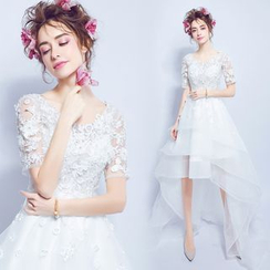 Angel Bridal - Short-Sleeve High-Low Mini Prom Dress