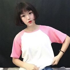 Kikiyo - Short-Sleeve Color Block T-Shirt