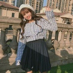 Eva Fashion - Frill Trim Plaid Shirt