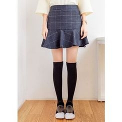 J-ANN - Wool Blend Check Skirt