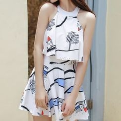 Lady J Swimwear - Printed Halter Swimdress