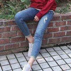 Seoul Fashion - Fray-Hem Distressed Skinny Jeans