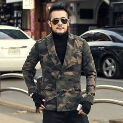 Mannmix - Camouflage Double-breasted Blazer