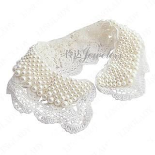 Linglady - Faux Pearl Crochet Collar Necklace