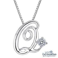 Leo Diamond - Initial Love 18K White Gold Diamond Pendant Necklace (16') - 'Q'