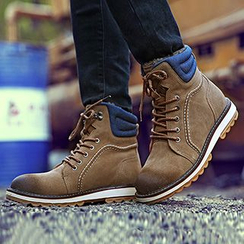 Preppy Boys - Genuine Leather Lace-Up Ankle Boots