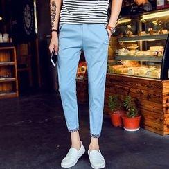 Hansel - Pattern Trim Cropped Straight-Cut Pants