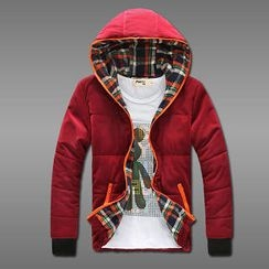 MR.PARK - Plaid-Lined Padded Hooded Zip Jacket