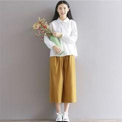 巧妮兒 - 皺摺邊娃娃領長袖襯衫