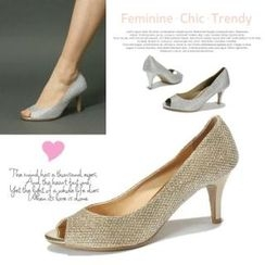 MODELSIS - Glittered Open-Toe Pumps