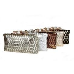Glam Cham - Bow-Accent Rhinestone Clutch