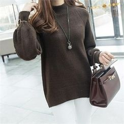PIPPIN - Mock-Neck Puff-Sleeve Knit Top