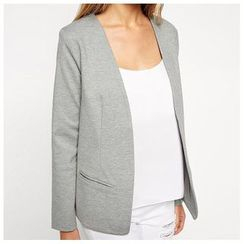 Richcoco - Open Front Plain Blazer
