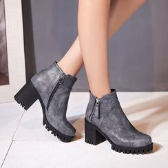 Pretty in Boots - Block Heel Ankle Boots