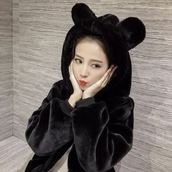 RUI - Ear Hooded Faux Fur Jacket