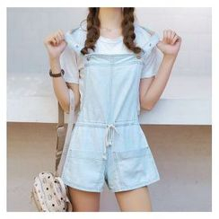 Denimot - Drawstring Waist Washed Dungaree Shorts