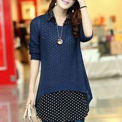 Rocho - Set: Dotted Sleeveless Chiffon Shirt + Open Knit Sweater