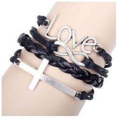 KINNO - Metal Accent Leather Bracelet Set