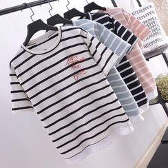Tulander - 字母刺绣条纹短袖T恤