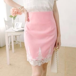 Tokyo Fashion - Slit-Back Lace-Appliqué Pencil Skirt