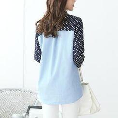 Stylementor - Dotted Chiffon-Panel Denim Shirt