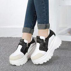 Mancienne - Platform Contrast-Color Ankle Boots