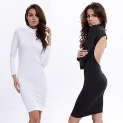Hotprint - Cut Out Back Mock Neck Long Sleeve Dress