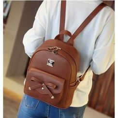 Merlain - Bow Faux Leather Backpack