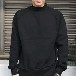 MITOSHOP - Mock-Neck Brushed-Fleece Lined Sweatshirt