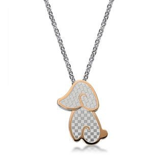 Kenny & co. - Shaking Head Doggy Pendant Necklace(Ip Rose Gold)