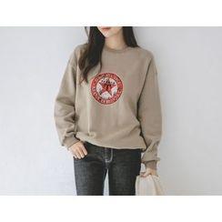 JUSTONE - Star Print Brushed-Fleece Lined Sweatshirt