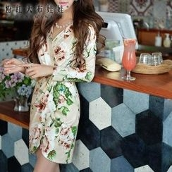 Dabuwawa - Long-Sleeve Wrap-Front Sheath Dress