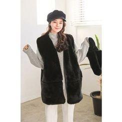PPGIRL - Open-Front Faux-Fur Vest