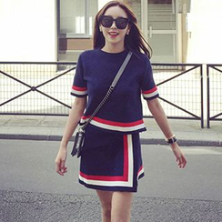 Shimi - Set : Stripe Short-Sleeve Knit Top + Asymmetric Skirt