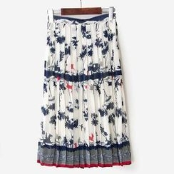Flower Idea - Pleated Patterned Long Skirt