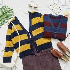 CaraMelody - Stripe V-neck Cardigan