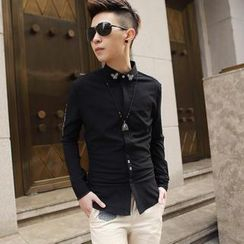 Free Shop - Embroidered Long-Sleeve Shirt