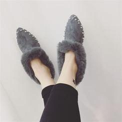 kokoin - Furry Trim Studded Flats